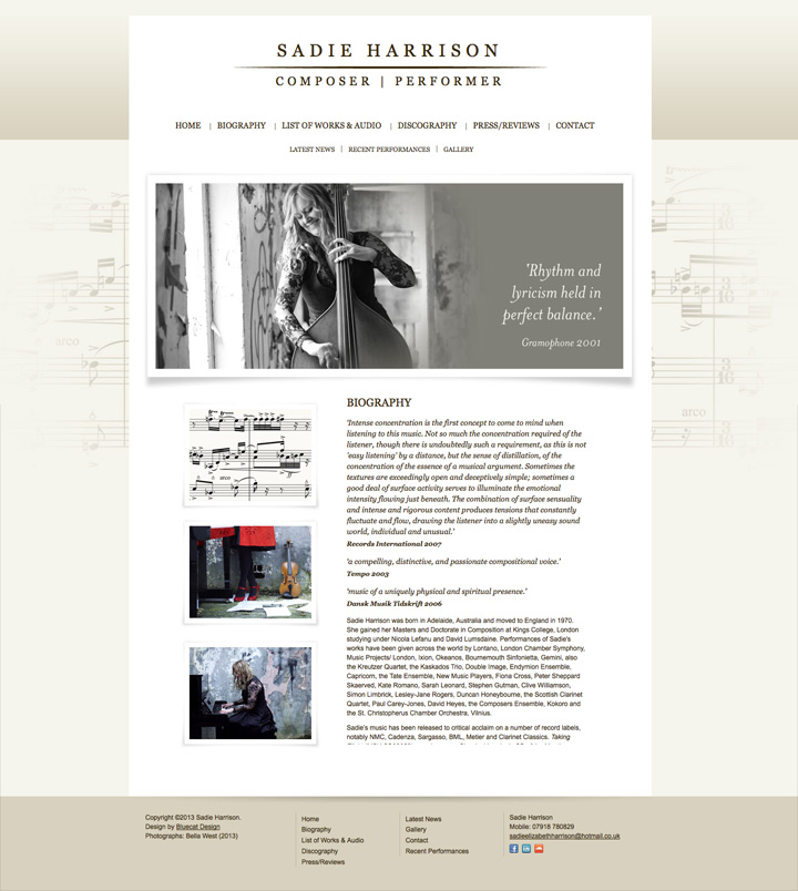 Sadie Harrison website